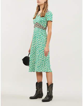 HVN Morgan floral-print silk midi dress
