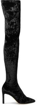 Jimmy Choo Lorraine 85 Crushed Stretch-Velvet Over-The-Knee Boots