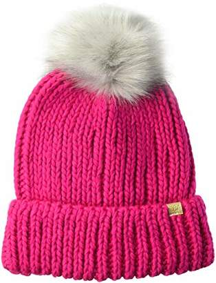 D&Y Women's David and Young's Cuff Knit Beanie with Pom