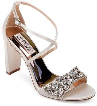 Badgley Mischka Women's Harper Embellished Satin Crisscross Strap Sandals