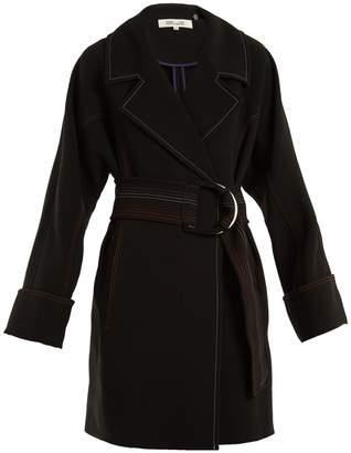 Diane von Furstenberg Contrast-stitching belted crepe coat
