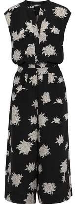 Vince Cropped Floral-print Silk Crepe De Chine Jumpsuit