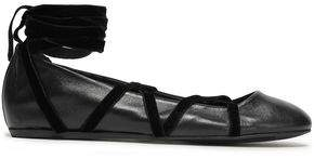 Lanvin Velvet-trimmed Leather Ballet Flats