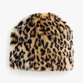 J.Crew Girls' fur hat in leopard