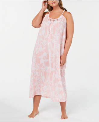 Charter Club Plus Size Printed Cotton Nightgown