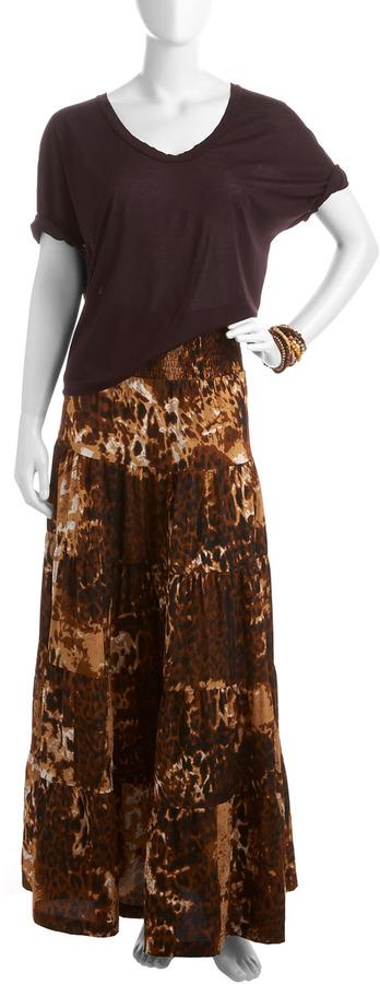 Torn By Ronny Kobo Hayden Leopard-Print Maxi Skirt