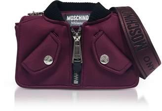 Moschino Burgundy Nylon Bomber Jacket Shoulder bag
