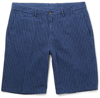 Altea Slim-Fit Over-Dyed Striped Linen and Cotton-Blend Shorts