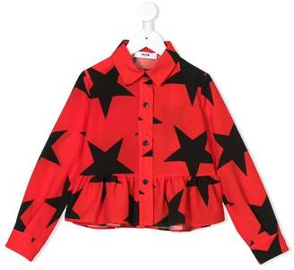 MSGM Kids star-print peplum shirt