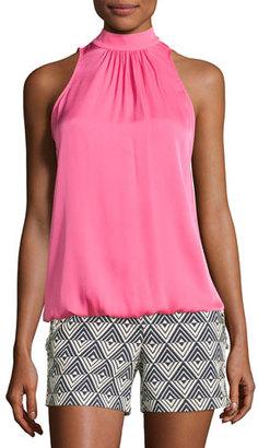 Trina Turk Hani Sleeveless Mock-Neck Top, Pink $188 thestylecure.com