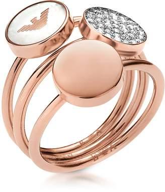 Emporio Armani Signature Rose Goldtone Triple Ring