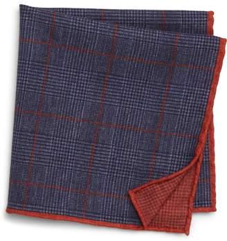 Eleventy Plaid Wool & Cotton Pocket Square