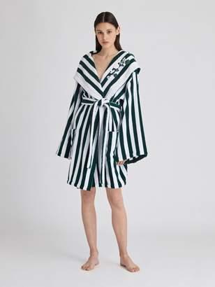 Oscar de la Renta Striped Cotton-Terry Hooded Robe