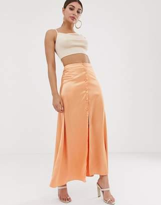 Asos Design DESIGN button front maxi skirt in satin