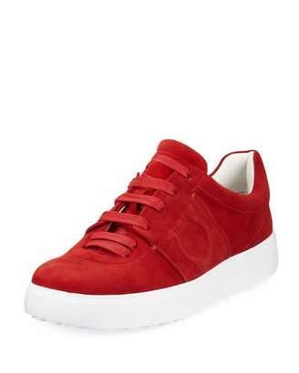 Salvatore Ferragamo Fasano Suede Platform Sneakers with Embossed Gancio Logo, Lipstick Red