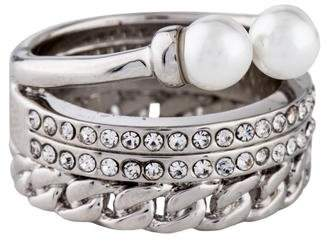Vita Fede Triple Chain Crystal & Faux Pearl Ring