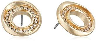 Kenneth Cole Gold Pave Sculptural Circle Stud Earrings