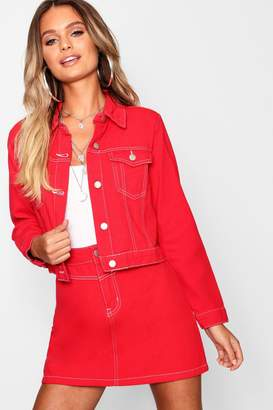 boohoo Red Contrast Stitch Cropped Denim Trucker Jacket