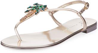 Giuseppe Zanotti Palm Tree Flat Crystal Thong Sandal