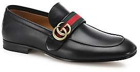 Gucci Men's Leather Loafer With GG Web