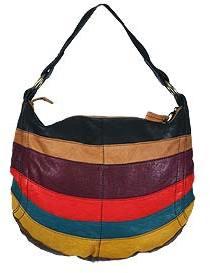 Multicolor Stripes Round Hobo Bag