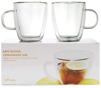 clear Smiling Juju Set of 2 Double Wall Insulated Glasses Mugs Cups (Borosilicate Glass) High Temperature Safe Hot/Cold