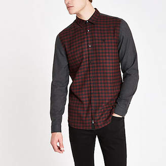 River Island Mens Dark Red check contrast shirt