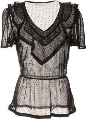 Roses Are Red Estelle Silk & Lace Blouse In Black