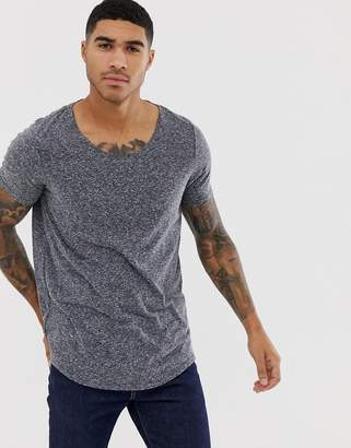 Asos DESIGN longline t-shirt with curved hem and scoop neck in interest fabric