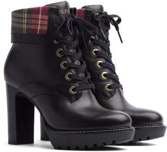 Tommy Hilfiger Plaid Cuff Leather Hiker