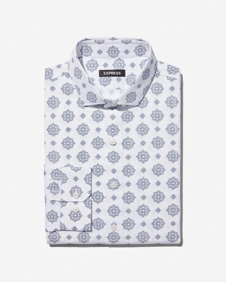 Express Slim Geometric Dress Shirt