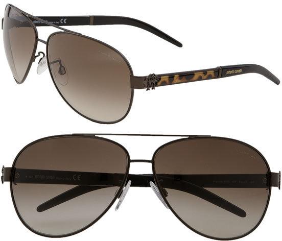 Roberto Cavalli 'Leopard' Aviator Sunglasses
