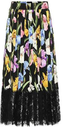 Dolce & Gabbana Floral stretch silk charmeuse skirt