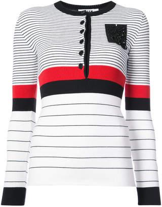 MSGM striped rib knit top