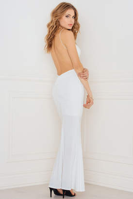 Rebecca Stella Slinky Fishtail Dress with Deep V Ruched Back White