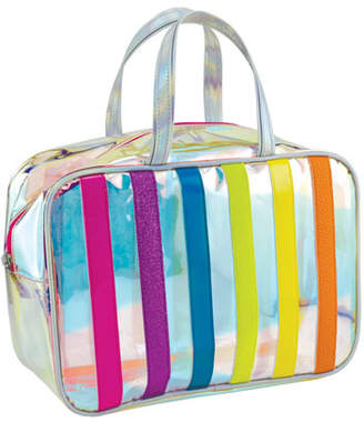 clear Iscream Iridescent Striped Cosmetic Bag