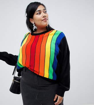 Asos DESIGN Curve sweater in vertical rainbow stripe