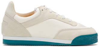 Comme des Garcons White and Green Spalwart Edition Pitch Sneakers