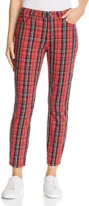Current/Elliott The Stiletto High-Rise Skinny Jeans in Red Tartan Plaid