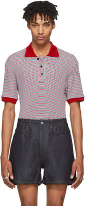 Maison Margiela Red and Blue Stripe Knit Polo