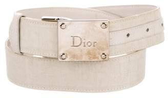 Christian Dior Leather-Trimmed Oblique Belt