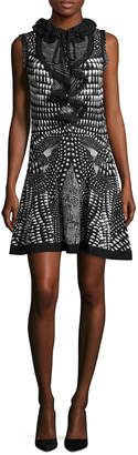 Roberto Cavalli Ruffle Neck A-Line Dress