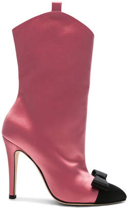 Alessandra Rich Satin Bow Boots in Pink & Black | FWRD