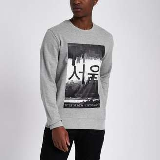 River Island Only and Sons grey printed sweatshirt