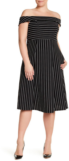 ABS By Allen SchwartzABS Off-the-Shoulder Fit & Flare Midi Dress (Plus Size)