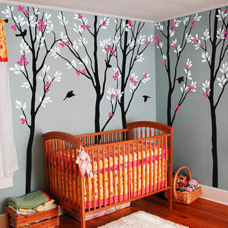 Wall Art Five Trees With Birds Wall Sticker