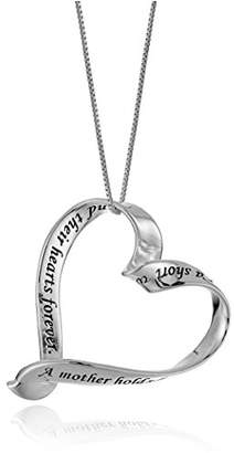 "Sterling ""A Mother Holds Her Child's Hand"" Ribbon Heart Pendant Necklace"