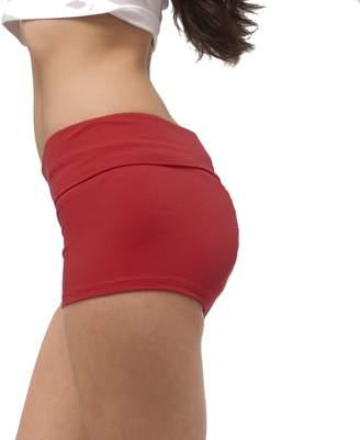 Hollywood Star Fashion Waist Band Contrast Yoga Fold Over Shorts