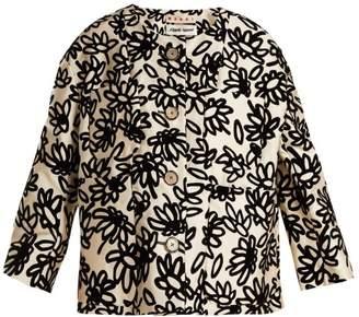 Marni - Mikado Floral Print Faille Jacket - Womens - White Black