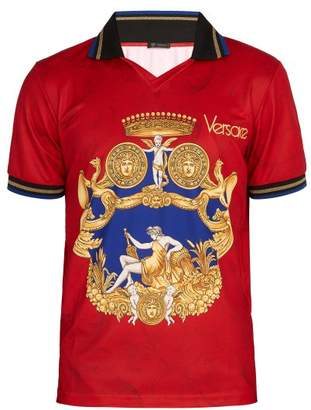 Versace Printed Jersey Polo Shirt - Mens - Red
